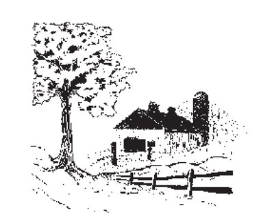 Barn Scene with Tree